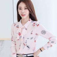 Pink floral butterfly necktie long sleeve button shirt 01