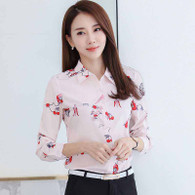 Pink floral pattern print long sleeve button shirt 1088 01