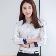 Light blue flower print long sleeve button shirt 01