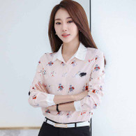 Pink music cat print long sleeve button shirt 01