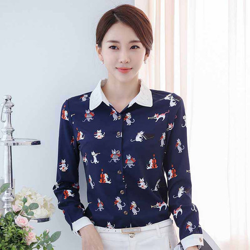Navy Music Cat Print Long Sleeve Button Shirt Womens