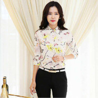 Beige floral pattern print long sleeve button shirt 01