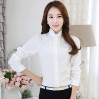 White embroidery lace long sleeve cotton shirt 01