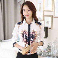 White retro art print long sleeve button shirt 01