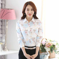 White floral pattern long sleeve button shirt 01