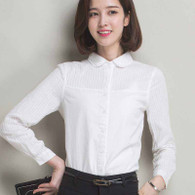 White lace stripe long sleeve doll collar cotton shirt 01