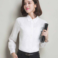 White lace stripe long sleeve point collar cotton shirt 01