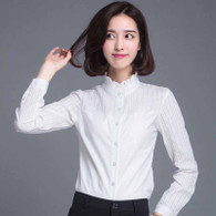 White lace stripe long sleeve stand collar cotton shirt 01