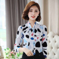 White blue pattern butterfly necktie long sleeve shirt 01