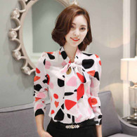 White red pattern butterfly necktie long sleeve shirt 01