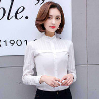 White lace stripe long sleeve cotton button shirt 01
