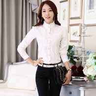 White floral lace long sleeve button shirt 01