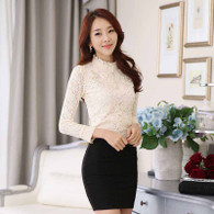 Beige floral lace hollow out long sleeve pullover shirt 01