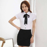 White pleated black necktie short sleeve button shirt 01