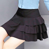 Black pleated multi layer look short skirt 01