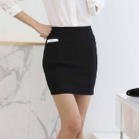 Black office work style short skirt with pocket 01