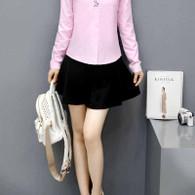 Black simple plain color lace tie short skirt 01