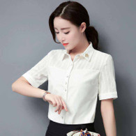 White vertical stripe short sleeve cotton shirt 01