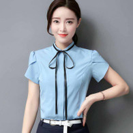 Blue pleated short sleeve shirt with neck tie 01
