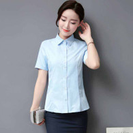 Blue simple plain color short sleeve cotton shirt 01