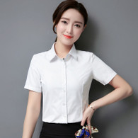 White simple plain color short sleeve cotton shirt 01
