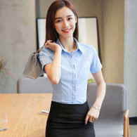 Blue simple plain color short sleeve shirt 1109 01