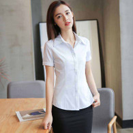 White simple plain color short sleeve shirt 1109 01