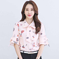 Pink floral print butterfly tie short sleeve shirt 01