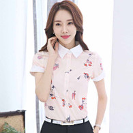 Pink floral print rolled short sleeve shirt 01