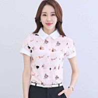 Pink animal print rolled short sleeve shirt 01