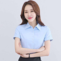 Blue simple plain color rolled short sleeve shirt 01