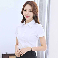 White simple plain color rolled short sleeve shirt 01