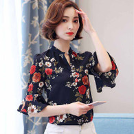 Floral print V neck pull over mid sleeve shirt blouse 01