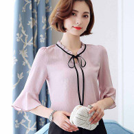 Pink V neck lace tie pullover mid sleeve shirt blouse 01