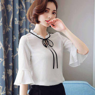 White V neck lace tie pullover mid sleeve shirt blouse 01