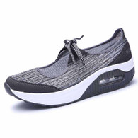 Grey lace up low cut stripe rocker bottom shoe sneaker 01