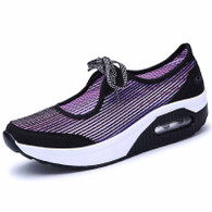 Purple lace up low cut stripe rocker bottom shoe sneaker 01