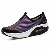Purple slip on stripe rocker bottom shoe sneaker 01