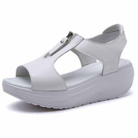 White zip on vamp rocker bottom shoe sandal 01