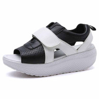 White on black velcro rocker bottom shoe sandal 01