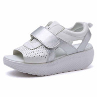 Silver on white velcro rocker bottom shoe sandal 01