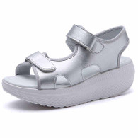 Silver double velcro plain rocker bottom shoe sandal 01