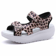Leopard double velcro rocker bottom shoe sandal 01