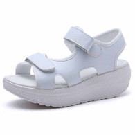 White double velcro plain rocker bottom shoe sandal 01