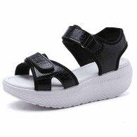 Black double velcro rocker bottom shoe sandal 1767 01