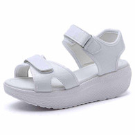 White double velcro rocker bottom shoe sandal 1767 01