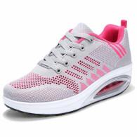 Grey flyknit stripe block rocker bottom shoe sneaker 01