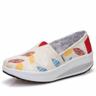 Beige leaf pattern slip on rocker bottom shoe sneaker 01