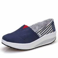 Navy stripe star slip on rocker bottom shoe sneaker 01