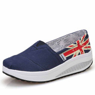 Navy flag print slip on rocker bottom shoe sneaker 01